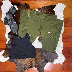 Nike Dri-Fit Olive Running Tights *geometric